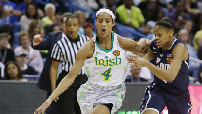Notre Dame guard Skylar Diggins (4) drives against Connecticut guard Moriah Jefferson (4) in the first half of the women's NCAA Final Four college basketball tournament semifinal, Sunday, April 7, 2013, in New Orleans. (AP Photo/Dave Martin)