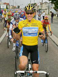 FILE - In this July 24, 2005, file photo, overall leader Lance Armstrong signals seven for his seventh straight win in the Tour de France cycling race as he pedals during the 21st and final stage of the race between Corbeil-Essonnes, south of Paris, and the French capital. Armstrong confessed to using performance-enhancing drugs to win the Tour de France during a taped interview with Oprah Winfrey that aired Thursday, Jan. 17, 2013, reversing more than a decade of denial. Armstrong called his run to seven Tour de France titles &quot;so perfect for so long.&quot; (AP Photo/Peter Dejong, File)
