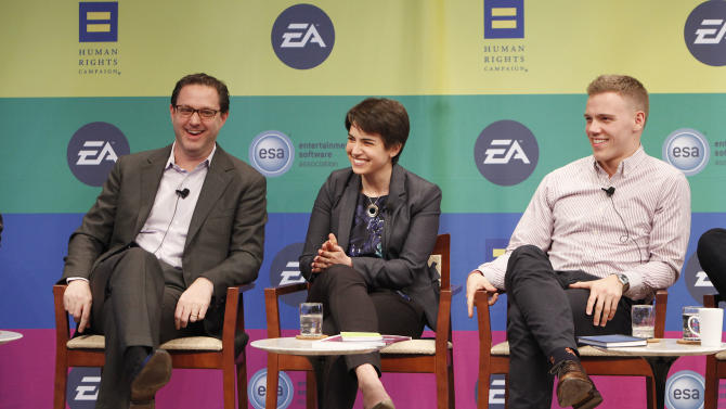 General Manager of BioWare Austin Matt Bromberg, HRC Workplace Program Director Deena Fidas and Campus Ambassador Coordinator for Out for Undergraduate Technology Conference (OUTC) Lucas Pattan speak at Electronic Arts'  LGBT Full Spectrum Event on Thursday, March, 7, 2013 in New York City, New York. (Photo by Amy Sussman/Invision for EA/AP Images)