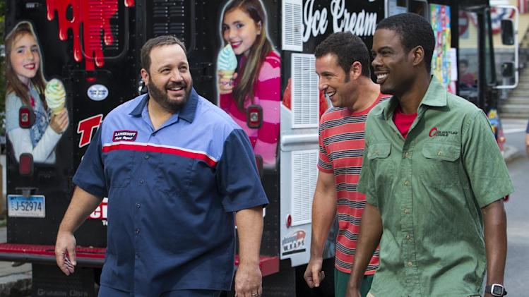 "This film publicity image released by Columbia Pictures shows, from left, Kevin James, Adam Sandler and Chris Rock in a scene from ""Grown Ups 2."" (AP Photo/Sony - Columbia Pictures, Tracy Bennett)"