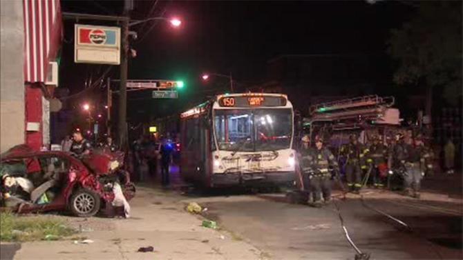 Crash involving fire truck, NJ Transit bus, car in Camden