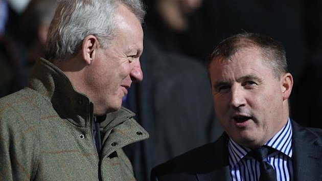 Ipswich Town chief executive Simon Clegg (left) in the stands with new manager Paul Jewell (right)
