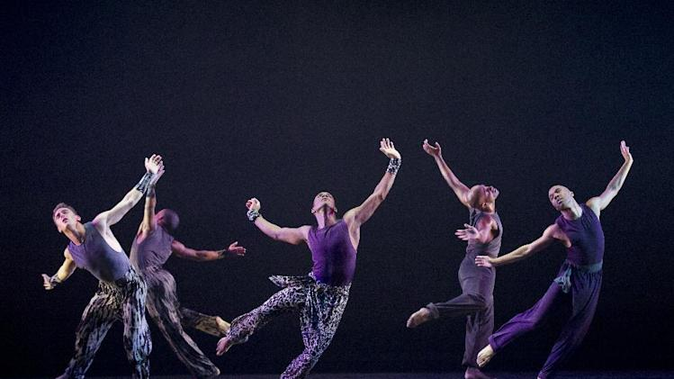 "This publicity image released by Alvin Ailey American Dance Theater shows dancers performing in ""Four Corners, choreographed by Ronald K. Brown, at Lincoln Center's David H. Koch Theater in New York. (AP Photo/Alvin Ailey American Dance Theater, Paul Kolnik)"