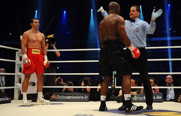   Wladimir Klitschko Of Ukraine Knocks Bongarts/Getty Images