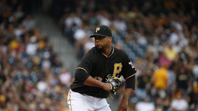 Pittsburgh Pirates starting pitcher Francisco Liriano delivers during a baseball game against the Atlanta Braves in Pittsburgh, Friday, June 26, 2015. (AP Photo/Gene J. Puskar)