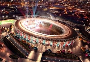 In this undated artist impression released Thursday Feb. 10, 2011, by West Ham United soccer club, the Olympic stadium site is depicted as a soccer st