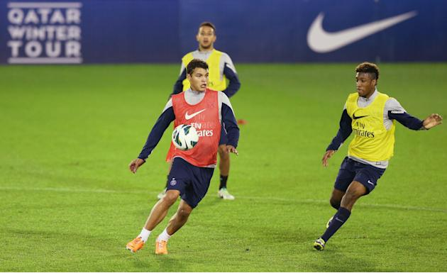 Paris Saint-Germain's Silva during training session in Doha