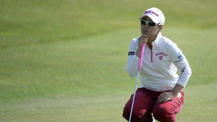 Mika Miyazato of Japan waits at the 10th hole during the women's British Open golf tournament at Royal Birkdale Golf Club in Southport