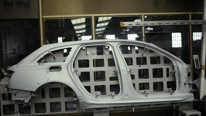 A pressed steel car part is seen at the factory of Troqueleria Del Norte, die-manufacturers for the automotive sector, in Sondika