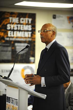 "Detroit Mayor Dave Bing speaks during a new conference announcing a framework for future decision making titled ""Detroit Future City"" at the DWPLTP Homebase on Wednesday, Jan. 9, 2013. (AP Photo/The Detroit News, Max Ortiz)"