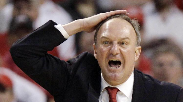 Ohio State head coach Thad Matta gives instructions as his team plays Cincinnati in the second half of an East Regional semifinal game in the NCAA men's college basketball tournament, Thursday, March 22, 2012, in Boston. (AP Photo/Michael Dwyer)