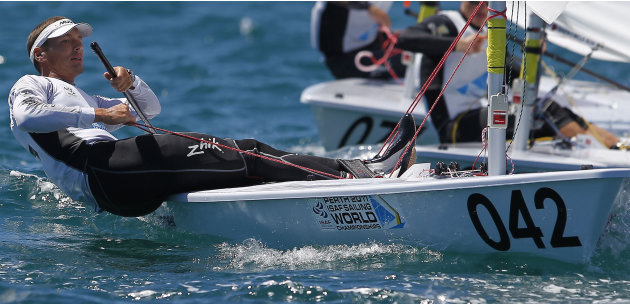 Hungary's Zsombar Berecz competes during the Laser men's gold fleet race 10 at the Sailing Championships in Perth, Australia, on Saturday Dec. 17. 2011. Croatia's Milan Vujasinovic was the winner of t