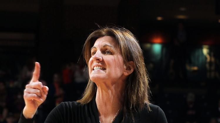 Virginia coach Joanne Boyle reacts to a call during an NCAA basketball game against Duke on Friday, Feb. 8, 2013, in Charlottesville, Va. (AP Photo/Andrew Shurtleff)