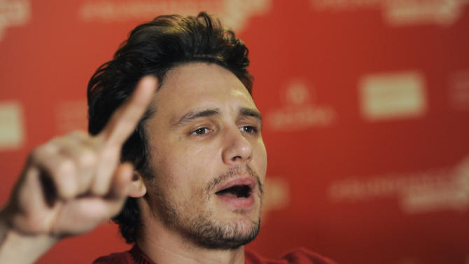 "James Franco, producer of the documentary film ""kink,"" makes a point during an interview at the premiere of the film at the 2013 Sundance Film Festival, Saturday, Jan. 19, 2013, in Park City, Utah. (Photo by Chris Pizzello/Invision/AP)"