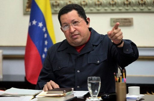 "Venezuelan President Hugo Chavez gestures during his TV programme at the presidential palace Miraflores in Caracas, on November 5, 2012, in a picture released by the Venezuelan presidency. Chavez was recovering in a Cuban hospital Wednesday after six hours of surgery to treat a cancerous lesion in an operation his vice president said ended ""successfully."""