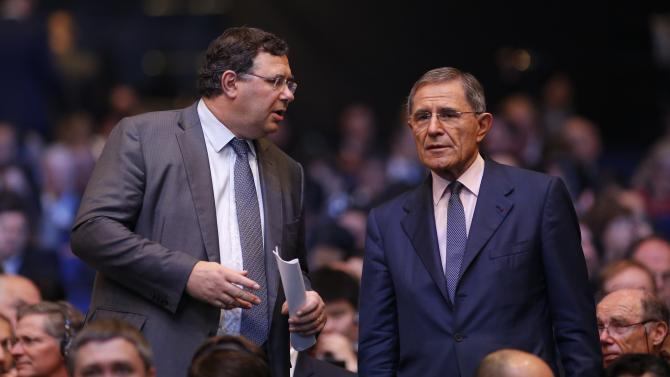 Patrick Pouyanne, Chief Executive Officer of Total, and Gerard Mestrallet, Chairman and Chief Executive Officer of Engie, attend the 26th World Gas Conference in Paris