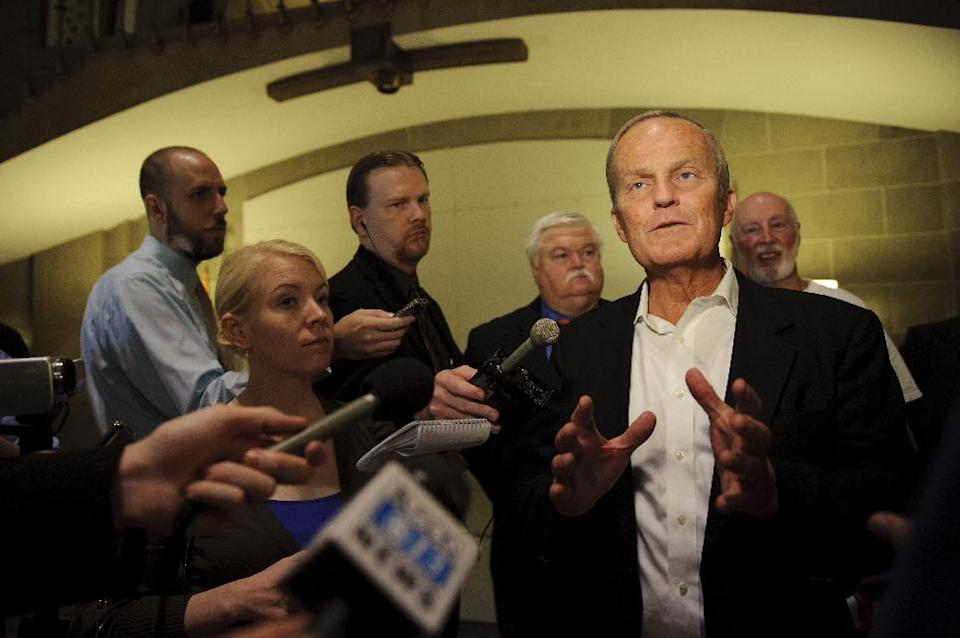 Republican Rep. Todd Akin speaks to reporters in the Missouri Capitol building rotunda as part of his Missouri Common Sense bus tour on Thursday, Sept.27, 2012. Akin will also be traveling to Columbia, Clinton and Warsaw today. (AP Photo/Columbia Daily Tribune, Ryan Henriksen)
