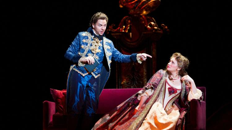 This undated handout photo provided by the Washington National Opera shows Giorgio Caoduro as Lescaut, left, and Patricia Racette as Manon Lescaut.  (AP Photo/Scott Suchman, WNO)
