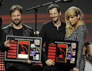 FILE - In this April 27, 2011 file photo, sonwriters Max Martin, from left, and Lukasz &quot;Dr. Luke&quot; Gottwalk, pose with singer Ke$ha after receiving their ASCAP Songwriters of the Year awards at the 28th Annual ASCAP Pop Music Awards in Los Angeles. Dr. Luke and Max Martin have written and produced dance-based hits from a ton of A-List singers, from Katy Perry to Ke$ha to Britney Spears. (AP Photo/Chris Pizzello, file)