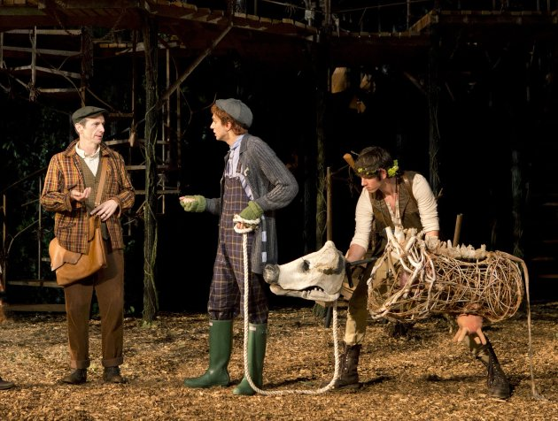 "This undated theater image released by The Public Theater shows actor Denis O'Hare, from left, Gideon Glick, and Johnny Newcomb in The Public Theater's Shakespeare in the Park production of ""Into The"