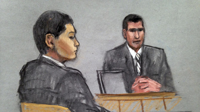 In this courtroom sketch, defendant Azamat Tazhayakov, left, a college friend of Boston Marathon bombing suspect Dzhokhar Tsarnaev, is depicted listening to testimony by FBI Special Agent Phil Christiana, right, during the first day of his federal obstruction of justice trial Monday, July 7, 2014 in Boston. Tazhayakov, of Kazakhstan, is accused with another friend of removing items from Tsarnaev's dorm room, but is not charged with participating in the bombing or knowing about it in advance. (AP Photo/Jane Flavell Collins)