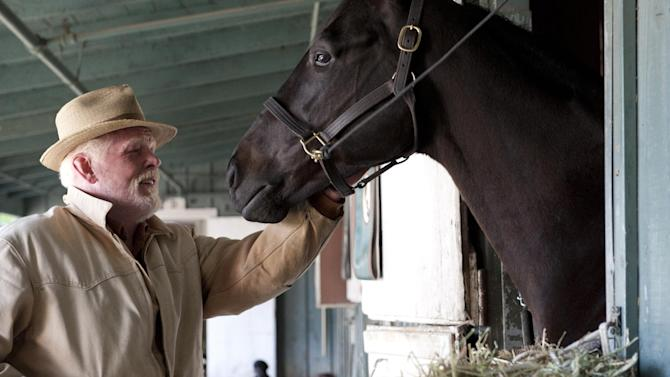 """In this undated image released by HBO, Nick Nolte appears in a scene from the HBO original series """"Luck.""""  The former director of the American Humane Association's Film and Television Unit sued HBO and the group on Monday, Dec. 31, 2012, claiming she was fired for complaining about the use of drugged, sick and underweight horses on the show """"Luck."""" (AP Photo/HBO, Gusmano Cesaretti )"""