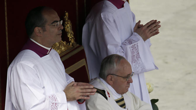 Pope Francis celebrates his installation Mass in St. Peter's Square at the Vatican, Tuesday, March 19, 2013. Pope Francis has urged princes, presidents, sheikhs and thousands of ordinary people gathered for his installation Mass to protect God's creation, the weakest and the poorest of the world. (AP Photo/Andrew Medichini)
