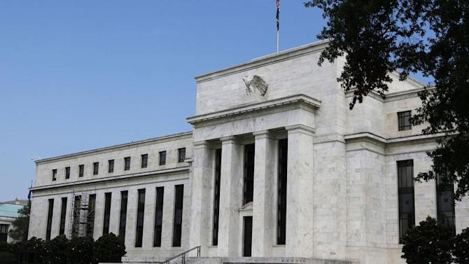 A view shows the Federal Reserve building in Washington