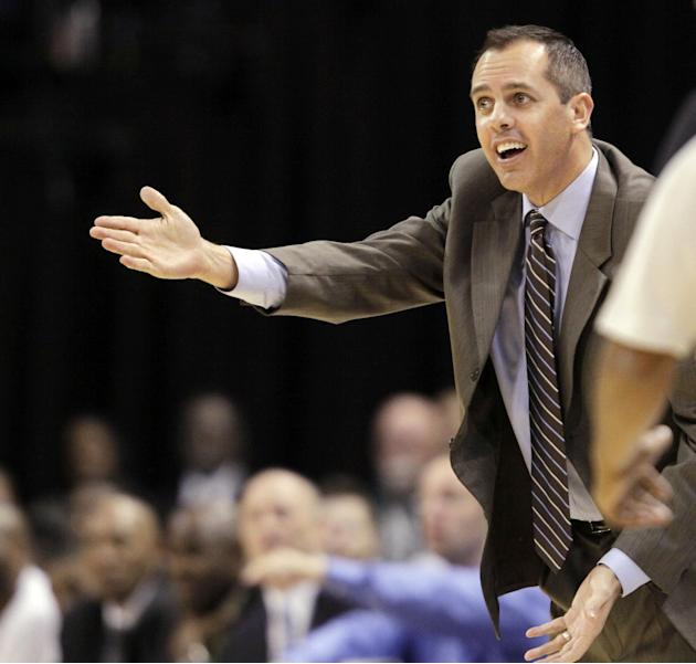 Indiana Pacers coach Frank Vogel argues a call during the second half of an NBA preseason basketball game against the Dallas Mavericks in Indianapolis, Wednesday, Oct. 16, 2013. The Mavericks won 92-8