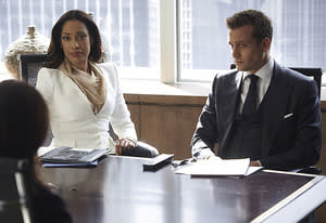 Gina Torres, Gabriel Macht | Photo Credits: Ian Watson/USA Network