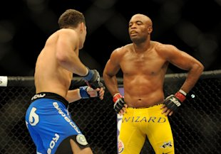 Chris Weidman looks on while Anderson Silva taunts him during their fight. (USA Today)