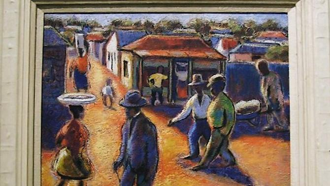 """This undated photo provided by The City of Tshwane on Monday, Nov. 12, 2012, shows a Gerard Sekoto """"street scene"""" oil on canvas. Police in South Africa said Monday that  robbers posing as visitors to an art museum stole more than $2 million worth of art including """"Street Scene"""" from an exhibit near the country's capital. (AP Photo/The City of Tshwane)"""