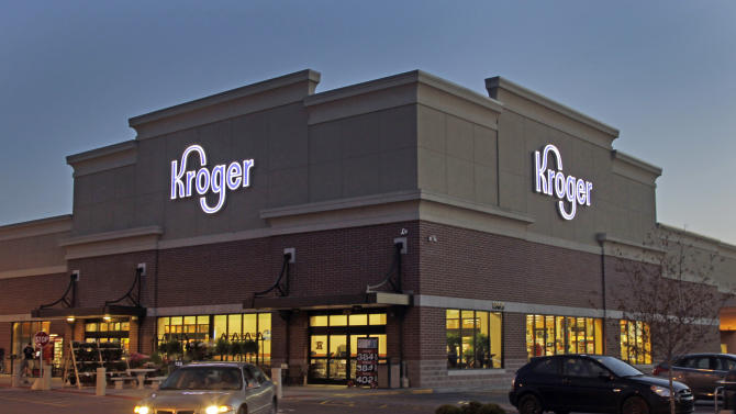 FILE - This June 12, 2012 file photo shows a Kroger store in Indianapolis. Kroger said Thursday, June 20, 2013, that the company has raised its outlook for the year after the country's largest traditional supermarket chain reported a fiscal first-quarter profit that beat Wall Street expectations. (AP Photo/Michael Conroy, File)