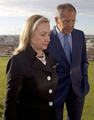 US Secretary of State Hillary Clinton (left) held talks with her Russian counterpart Sergei Lavrov in St. Petersburg on June 29. Russia has denied holding talks with the United States about offering Syrian President Bashar al-Assad exile as a way out of 16 months of bloodshed that has claimed more than 16,500 lives