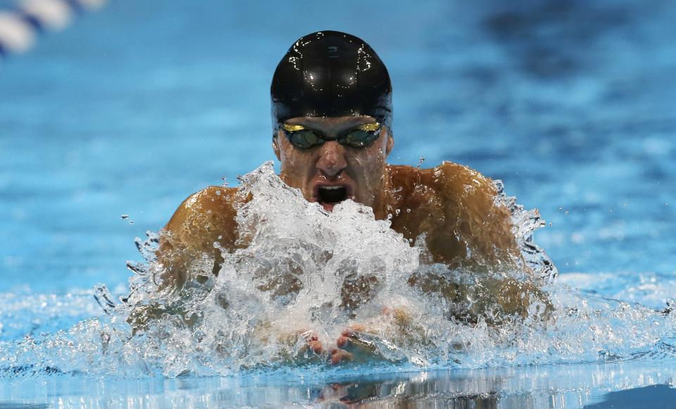 Brendan Hansen swims in the men's 100-meter breaststroke final at the U.S. Olympic swimming trials, Tuesday, June 26, 2012, in Omaha, Neb. (AP Photo/David J. Phillip)
