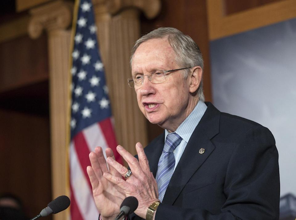 Senate Majority Leader Harry Reid, D-Nev., repeats his pledge to not touch the Affordable Care Act if House Republicans make rescinding Obamacare a part of a continuing resolution to fund the government, on Capitol Hill in Washington, Thursday, Sept. 19, 2013. (AP Photo/J. Scott Applewhite)