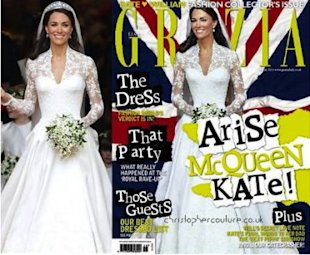 Kate Middleton's waist was slimmed down on the cover of Grazia magazine. Photos by Getty Images; Grazia.