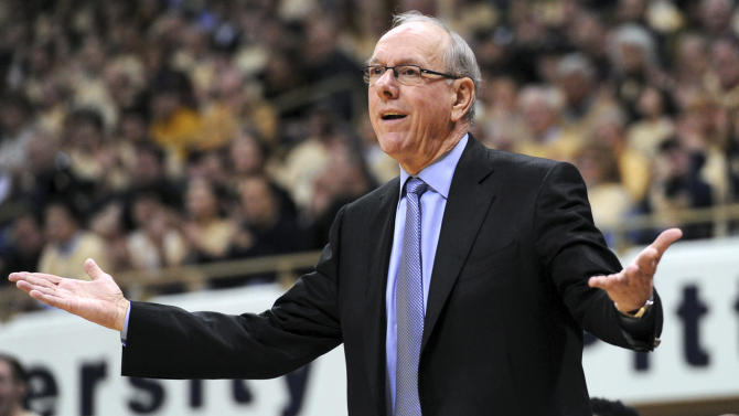 Syracuse coach Jim Boeheim gestures on the sideline during an NCAA college basketball game against Pittsburgh in Pittsburgh, Saturday, Feb. 2, 2013. (AP Photo/John Heller)