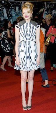 Emma Stone wears Fendi mini-dress and Stella McCartney heels at Spider-Man premiere