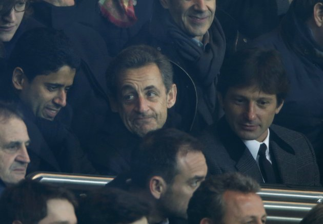 Former French President Sarkozy attends the French Ligue 1 soccer match where Paris Saint-Germain plays Olympic Marseille at the Parc des Princes stadium in Paris