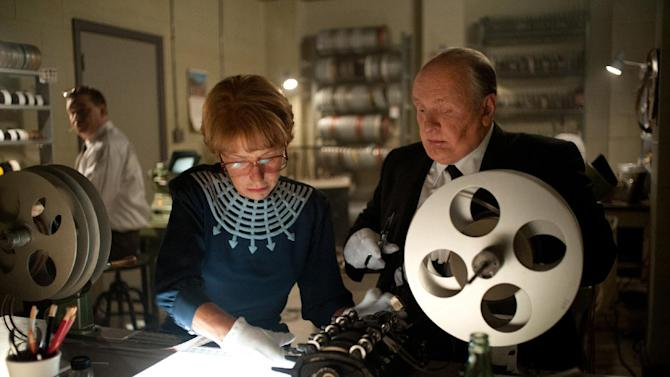 """This film image released by Fox Searchlight shows Helen Mirren as Alma Reville, left, and Anthony Hopkins as Alfred Hitchcock in """"Hitchcock."""" (AP Photo/Fox Searchlight, Suzanne Tenner)"""