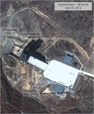 This April 9, 2012 satellite image provided by DigitalGlobe and annotated by the U.S.-Korea Institute at Johns Hopkins School of Advanced International Studies, 38 North, shows a facility in Sohae, North Korea where analysts believe rocket engines have been tested in a sign North Korea continues to develop its long-range ballistic missiles, The analysis provided to The Associated Press is based on satellite images taken as recently as late September of the Sohae site on the secretive country's northwest coast. In April, the North conducted a failed attempt to launch a rocket from there carrying a satellite into space in defiance of a U.N. ban. The website of the U.S.-Korea Institute at SAIS said Monday Nov. 12, 2012 that it remains unclear whether the North is preparing a rocket launch but predicted it may embark on new rocket and nuclear tests in the first half of 2013. (AP Photo/DigitalGlobe/ U.S.-Korea Institute at SAIS)
