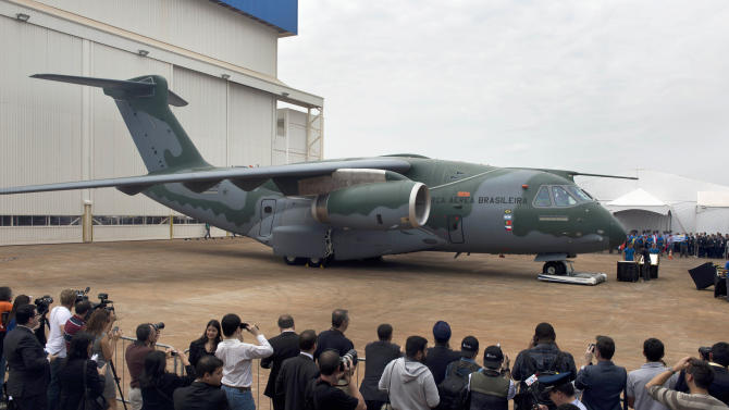 The new Embraer KC-390 aircraft is seen at a roll-out ceremony at Embraer's production facilities in Gaviao Peixoto, Brazil, on October 21, 2014