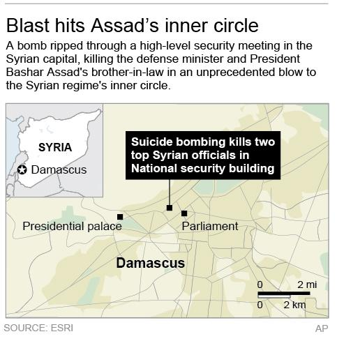 Locates blast site in Damascus