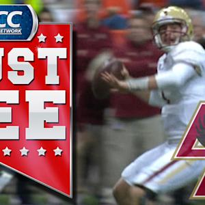 BC's Chase Rettig Completes Schoolyard Pass Across Field For TD | ACC Must See Moment
