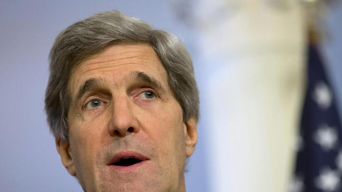 FILE - In this Feb. 14, 2013 file photo, Secretary of State John Kerry speaks at the State Department in Washington. Kerry will make his first overseas trip next week to Europe and the Middle East, but is skipping Israel because that country's government isn't fully formed after recent elections.  (AP Photo/Jacquelyn Martin, File)