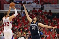 Los Angeles Clippers&#39; Blake Griffin (L) attempts to shoot over Memphis Grizzlies&#39; Marc Gasol during game six of the NBA Western Conference series on May 11. Gasol scored 23 points to lead the Grizzlies over the Clippers 90-88