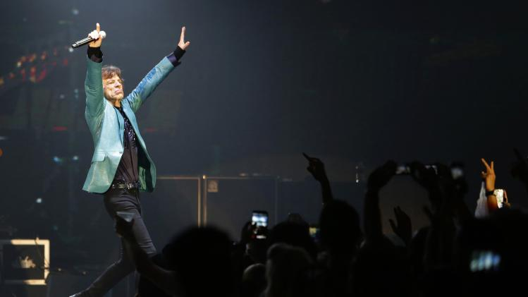Mick Jagger of the Rolling Stones performs during their 14 on Fire concert in Singapore