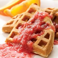 Rhubarb Waffles with Rhubarb Sauce