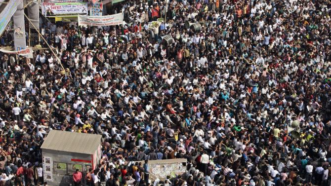 Bangladesh's largest Islamic party Jamaat-e-Islami leaders and activists participate in a demonstration in Dhaka, Bangladesh, Monday, Feb. 4, 2013. The party demanded for scrapping the International Crimes Tribunal in which top Jamaat leaders are facing trials on charges against humanity during the 1971 Independence of war crimes. (AP Photo/A.M. Ahad)